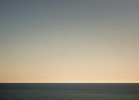 Empty horizon of Tasman Sea at sunset, West Coast, South Westland, South Island, New Zealand, NZ