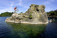 Martyn Ashton<br /> Water Jump ,  Vobster Quay , Somerset   August 2005<br /> pic copyright Steve Behr / Stockfile