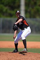 Miami Marlins pitcher Greg Greve (80) during a minor league spring training game against the New York Mets on March 30, 2015 at the Roger Dean Complex in Jupiter, Florida.  (Mike Janes/Four Seam Images)