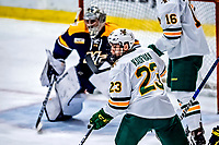 26 January 2019:  University of Vermont Catamount Forward Max Kaufman, a Sophomore from Rochester, NY, is open in front of the crease in third period action against the Merrimack College Warriors at Gutterson Fieldhouse in Burlington, Vermont. The Catamounts defeated the Warriors 4-3 in overtime to take both games of their weekend America East conference series. Mandatory Credit: Ed Wolfstein Photo *** RAW (NEF) Image File Available ***