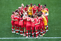 June 21, 2015: The Canadian team prior to the start of the round of 16 match between Canada and Switzerland at the FIFA Women's World Cup Canada 2015 at BC Place Stadium on 21 June 2015 in Vancouver, Canada. Canada won 1-0. Sydney Low/Asteriskimages.com