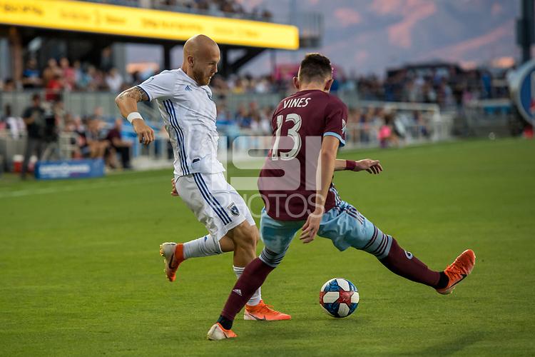 SAN JOSÉ CA - JULY 27: Magnus Eriksson #7, Sam Vines #13 during a Major League Soccer (MLS) match between the San Jose Earthquakes and the Colorado Rapids on July 27, 2019 at Avaya Stadium in San José, California.