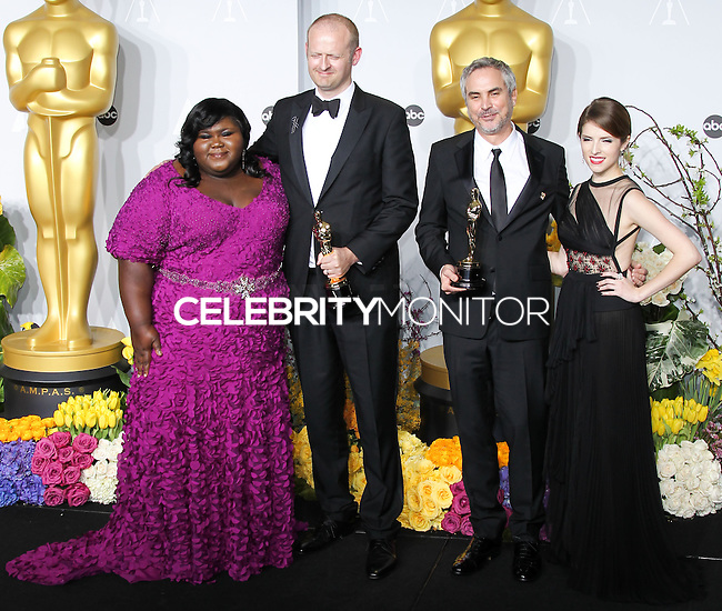 HOLLYWOOD, LOS ANGELES, CA, USA - MARCH 02: Gabourey Sidibe, Mark Sanger, Alfonso Cuaron, Anna Kendrick at the 86th Annual Academy Awards - Press Room held at Dolby Theatre on March 2, 2014 in Hollywood, Los Angeles, California, United States. (Photo by Xavier Collin/Celebrity Monitor)