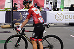 Race leader Tadej Pogacar (SLO) UAE Team Emirates lines up for the start of Stage 6 of the 2021 UAE Tour running 165km from Deira Island to Palm Jumeirah, Dubai, UAE. 26th February 2021.  <br /> Picture: Eoin Clarke   Cyclefile<br /> <br /> All photos usage must carry mandatory copyright credit (© Cyclefile   Eoin Clarke)