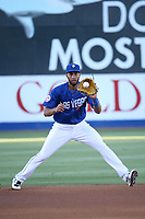 Amed Rosario (1) of the Las Vegas 51s fields a ball at shortstop during a game against the Sacramento River Cats at Cashman Field on June 15, 2017 in Las Vegas, Nevada. Las Vegas defeated Sacramento, 12-4. (Larry Goren/Four Seam Images)