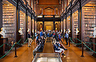 Aug 12, 2014; Students enjoy a reception in The Long Room of Trinity College in Dublin , Ireland. 82 Notre Dame students participated in the Summer 2014 Ireland Inside Track program.  The 8-day program involved cultural excursions, tours and travel between Dublin and the West of Ireland. Students learned about Ireland's rich culture, complex history and contemporary business such and Google and Twitter.  (Photo by Barbara Johnston/University of Notre Dame)