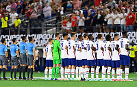 DALLAS, TX - JULY 25: The UNMNT Starting XI stand for the National Anthem before a game between Jamaica and USMNT at AT&T Stadium on July 25, 2021 in Dallas, Texas.