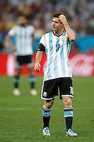 Lionel Messi of Argentina looks confused
