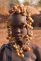 Mursi girl portrait in Omo valley Ethiopia
