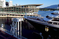 Vancouver Convention and Exhibition Centre (West Facility) and Cruise Ship docking along Downtown City Waterfront, Vancouver, BC, British Columbia, Canada - Port of Vancouver Harbour