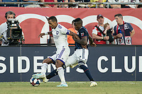 FOXBOROUGH, MA - JULY 27:  Nani #17 breaks free of a tackle at Gillette Stadium on July 27, 2019 in Foxborough, Massachusetts.