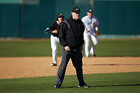 The base umpire during the NCAA baseball game between the West Virginia State Yellow Jackets and the Catawba Indians at Newman Park on February 9, 2020 in Salisbury, North Carolina. The Indians defeated the Yellow Jackets 15-9 in game one of a doubleheader.  (Brian Westerholt/Four Seam Images)