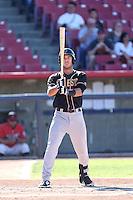 William Swanner #23 of the Modesto Nuts bats against the High Desert Mavericks at Heritage Field on June 29, 2014 in Adelanto, California. High Desert defeated Modesto, 6-1. (Larry Goren/Four Seam Images)