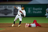 Jupiter Hammerheads shortstop Nasim Nunez (2) fields a throw as Masyn Winn (3) slides safely into second base during a game against the Palm Beach Cardinals on May 11, 2021 at Roger Dean Chevrolet Stadium in Jupiter, Florida.  (Mike Janes/Four Seam Images)