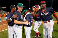 Daytona Tortugas Gavin LaValley (32) celebrates with teammates Jorge Mateo, Shed Long, Jose Taveras, after being named the game MVP during the Florida State League All-Star Game on June 17, 2017 at Joker Marchant Stadium in Lakeland, Florida.  FSL North All-Stars defeated the FSL South All-Stars  5-2.  (Mike Janes/Four Seam Images)