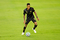 LOS ANGELES, CA - SEPTEMBER 23: Mark-Anthony Kaye #14 of the LAFC moves with the ball during a game between Vancouver Whitecaps and Los Angeles FC at Banc of California Stadium on September 23, 2020 in Los Angeles, California.