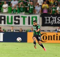 AUSTIN, TX - JUNE 19: Cecilia Dominguez #10 of Austin FC passes the ball to a teammate during a game between San Jose Earthquakes and Austin FC at Q2 Stadium on June 19, 2021 in Austin, Texas.