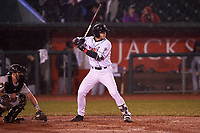 Lansing Lugnuts Hagen Danner (24) at bat during a Midwest League game against the Wisconsin Timber Rattlers at Cooley Law School Stadium on May 2, 2019 in Lansing, Michigan. Lansing defeated Wisconsin 10-4. (Zachary Lucy/Four Seam Images)