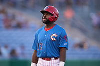 Clearwater Threshers D.J. Stewart (12) during a game against the Dunedin Blue Jays on May 18, 2021 at BayCare Ballpark in Clearwater, Florida.  (Mike Janes/Four Seam Images)