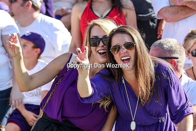 Texas Tech Red Raiders and TCU Horned Frog fans in action during the game between the Texas Tech Red Raiders and the TCU Horned Frogs at the Amon G. Carter Stadium in Fort Worth, Texas. TCU defeats Texas Tech 82 to 27.