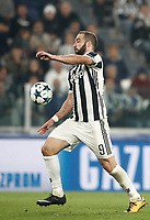 Football Soccer: UEFA Champions League Juventus vs Sporting Clube de Portugal, Allianz Stadium. Turin, Italy, October 18, 2017. <br /> Juventus' Gonzalo Higuain in action during the Uefa Champions League football soccer match between Juventus and Sporting Clube de Portugal at Allianz Stadium in Turin, October 18, 2017.<br /> UPDATE IMAGES PRESS/Isabella Bonotto