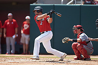 Ryan Solomon (31) of the Northeastern Huskies follows through on his swing against the North Carolina State Wolfpack at Doak Field at Dail Park on June 2, 2018 in Raleigh, North Carolina. The Wolfpack defeated the Huskies 9-2. (Brian Westerholt/Four Seam Images)