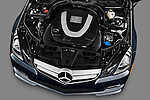 High angle engine detail of a 2011 Mercedes E 550 Convertible .