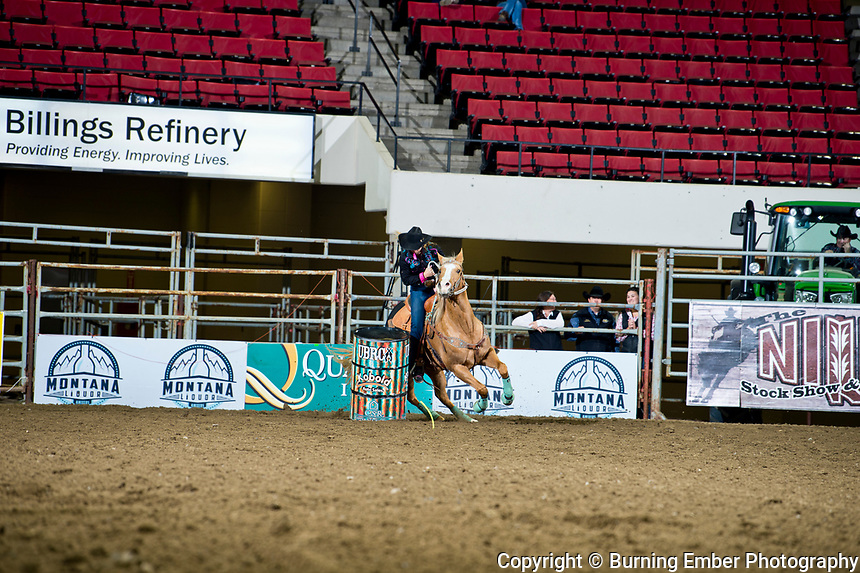 Kari Parker, MFR Firewater Lynx, at the NILE Runnin The Rims Barrel Race. October 16th, 2018.  Photo by Josh Homer/Burning Ember Photography.  Photo credit must be given on all uses.