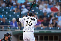 Michael Saunders (16) of the Charlotte Knights at bat against the Indianapolis Indians at BB&T BallPark on May 26, 2018 in Charlotte, North Carolina. The Indians defeated the Knights 6-2.  (Brian Westerholt/Four Seam Images)