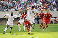 Melvin Valladares (18) of Honduras (HON) heads the ball away from his goal during a quarterfinal match of the CONCACAF Gold Cup against Canada (CAN) at Lincoln Financial Field in Philadelphia, PA, on July 18, 2009.