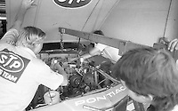 crewmen work on Richard Petty 43 Pontiac in garage Firecracker 400 at Daytona International Speedway in Daytona Beach, FL on July 4, 1983. (Photo by Brian Cleary/www.bcpix.com)