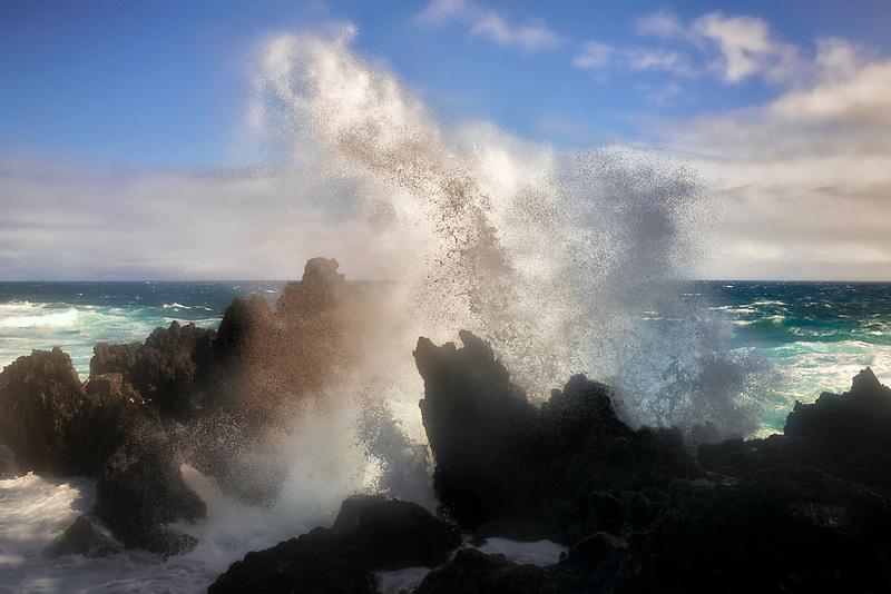 Wave crashing at Laupahoeoe Beach, HI