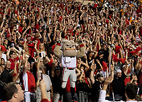 KNOXVILLE, TN - OCTOBER 5: Georgia fans and Hairy Dawg hold up a light at the end of the third quarter during a game between University of Georgia Bulldogs and University of Tennessee Volunteers at Neyland Stadium on October 5, 2019 in Knoxville, Tennessee.