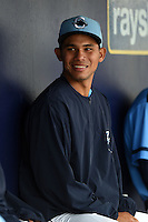 Charlotte Stone Crabs second baseman Jonathan Quinonez (4) in the dugout during a game against the Fort Myers Miracle on April 16, 2014 at Charlotte Sports Park in Port Charlotte, Florida.  Fort Myers defeated Charlotte 6-5.  (Mike Janes/Four Seam Images)