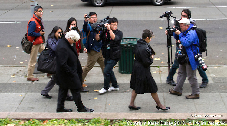 Paul Watson, Founder of the Sea Shepherd Conservation Society, is surrounded by media as he leaves the United States Court of Appeals, Ninth Circuit in Seattle, Washington on November 6, 2013. Watson. Watson testified he and his organization did not violate a court injunction ordering them to stay over 500 yards away from Japanese whaling vessels during the last Southern Ocean anti-whaling campaign.  The Institute of Cetacean Research, Kyodo Senpaku Kaisha, Ltd., Tomoyuki Ogawa, Toshiyuki Miura and Hiroyuki Komura accuse the sea Shepherd vessels of interfering in their annual whale hunt. (copyright Karen Ducey/KarenDucey.com)