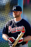 Brian McCann #16 of the Atlanta Braves before a game against the Los Angeles Dodgers at Dodger Stadium on June 6, 2013 in Los Angeles, California. (Larry Goren/Four Seam Images)