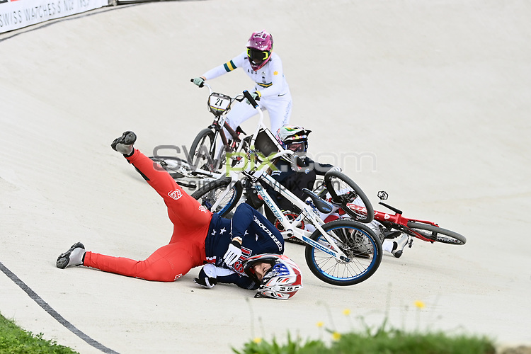Picture by Alex Broadway/SWpix.com - 22/08/2021 - Cycling - UCI BMX World Championships 2021 - Papendal National Sports Centre, Arnhem, Netherlands - Felicia Stancil of the USA crashes in the Elite Women's final.