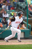 Rochester Red Wings right fielder Logan Schafer (27) at bat during a game against the Toledo Mudhens on June 12, 2016 at Frontier Field in Rochester, New York.  Rochester defeated Toledo 9-7.  (Mike Janes/Four Seam Images)
