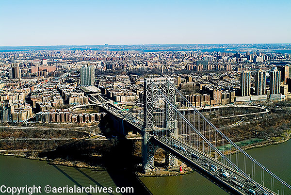aerial photograph Geroge Washington bridge, Manhattan, New York City