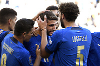 Domenico Berardi of Italy celebrates with team mates after scoring on penaly the goal of 2-0 during the Uefa Nations League 3rd and 4th place final football match between Italy and Belgium at Juventus stadium in Torino (Italy), October 10th, 2021. Photo Image Sport / Insidefoto