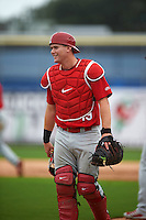 Palm Beach Cardinals catcher Carson Kelly (19) during the first game of a doubleheader against the Dunedin Blue Jays on August 2, 2015 at Florida Auto Exchange Stadium in Dunedin, Florida.  Palm Beach defeated Dunedin 4-1.  (Mike Janes/Four Seam Images)