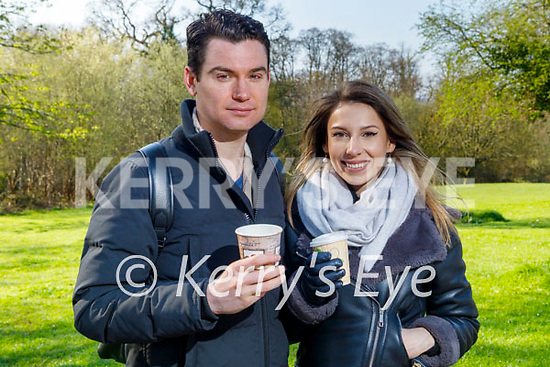 Enjoying a coffee and a stroll in the Killarney National park on Saturday, l to r: Sean Columb and Yvona Ostruszkoba.