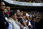 Tottenham Hotspur 4 Watford 0, 08/04/2017. White Hart Lane, Premier League. Supporters look on anxiously from the South Stand during the first-half as Tottenham Hotspur took on Watford in an English Premier League match at White Hart Lane. Spurs were due to make an announcement in April 2016 regarding when they would move out of their historic home and relocate to Wembley as their new stadium was completed. Spurs won this match 4-0 watched by a crowd of 31,706, a reduced attendance figure due to the ongoing ground redevelopment. Photo by Colin McPherson.