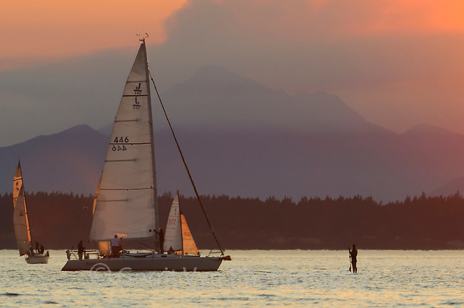 Woman paddleboarding with sailboats in the waters of Puget Sound with the Olympic Mountains in the background. Seattle, Washington.