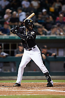 Micker Adolfo (40) of the Charlotte Knights at bat against the Norfolk Tides at Truist Field on August 19, 2021 in Charlotte, North Carolina. (Brian Westerholt/Four Seam Images)