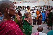 Hindu pilgrims offer their hair after prayers during their visit the ancient city of Varanasi in Uttar Pradesh, India. Photograph: Sanjit Das/Panos