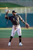 Luis Rengifo (2) of the Salt Lake Bees during the game against the Tacoma Rainiers at Smith's Ballpark on May 13, 2021 in Salt Lake City, Utah. The Rainiers defeated the Bees 15-5. (Stephen Smith/Four Seam Images)