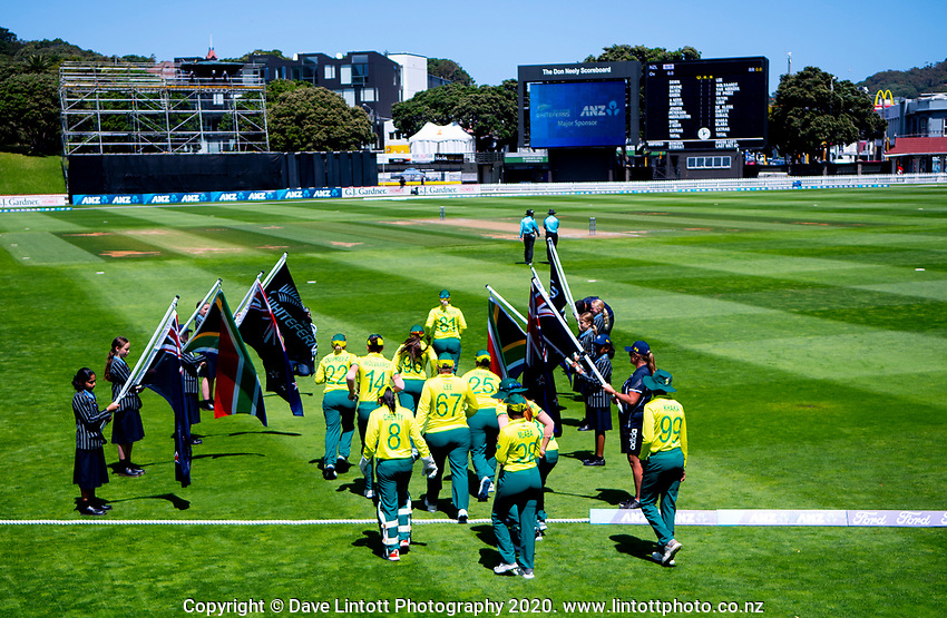 The Proteas walk out to field for the first innings of the International Women's Twenty20 Cricket match between the New Zealand White Ferns and South Africa Proteas at Basin Reserve in Wellington, New Zealand on Monday, 10 February 2020. Photo: Dave Lintott / lintottphoto.co.nz