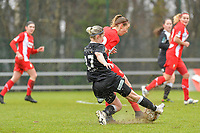 Charlotte Cranshoff (18) of Standard and Stephanie Van Gils (27) of Eendracht Aalst pictured during a female soccer game between Standard Femina de Liege and Eendracht Aalst on the 12 th matchday of the 2020 - 2021 season of Belgian Scooore Womens Super League , saturday 30 th of January 2021 in Angleur , Belgium . PHOTO SPORTPIX.BE   SPP   STIJN AUDOOREN