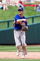 Jason Christian (16) of the Midland RockHounds throws to first base during a game against the Springfield Cardinals on April 19, 2011 at Hammons Field in Springfield, Missouri.  Photo By David Welker/Four Seam Images
